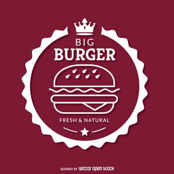 White burger emblem - vector #362279 gratis
