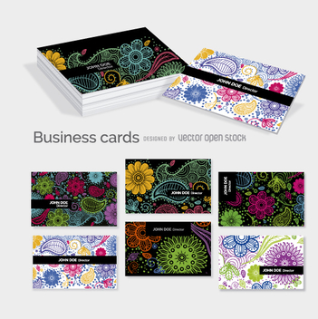Floral business cards template - vector #362339 gratis