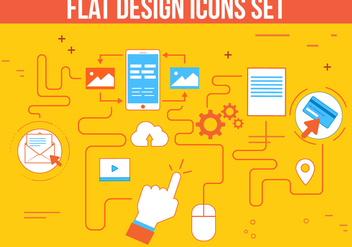 Free Flat Design Vector Icon Set - Kostenloses vector #362499