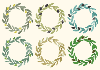 Vector Olive Wreath - Free vector #362539