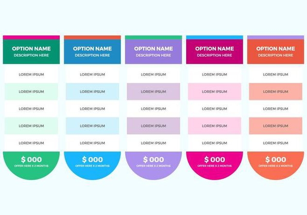 Free Pricing Table Vector - Free vector #362679