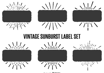 Vintage Sunburst Label Set - vector gratuit #362739
