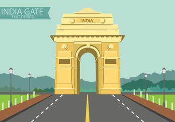 India Gate on Flat Design - бесплатный vector #362849