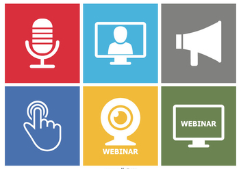 Webinar Flat Icon Set - vector gratuit #362859