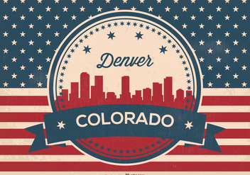 Retro Style Denver Skyline Illustration - Free vector #362869