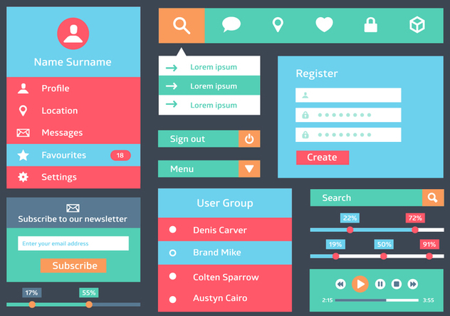 Free Flat Web User Interface Vector Background - vector gratuit #362889