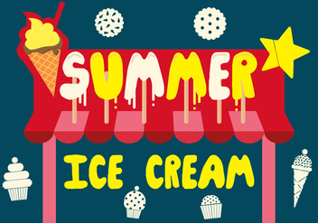 Free Summer Ice Cream Vector Background with Typography - бесплатный vector #362929