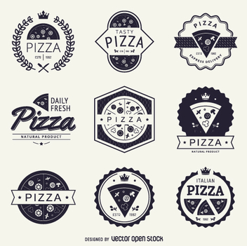 Collection of pizza themed logos - vector #362969 gratis