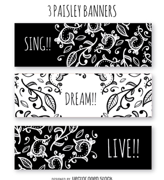 Black and white paisley banners - vector gratuit #362989
