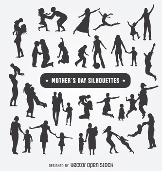 Mother's Day silhouettes set - vector gratuit #363239