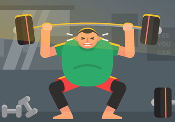 Vector Fat Guy in The Gym - vector gratuit #363349