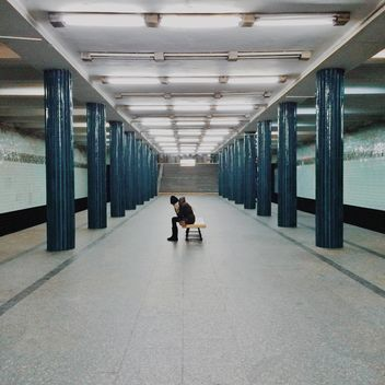 Girl waiting for train at subway station - Free image #363669