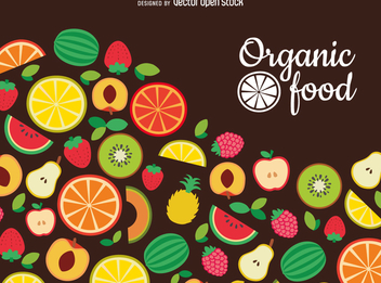 Flat organic food backdrop - vector gratuit #363769