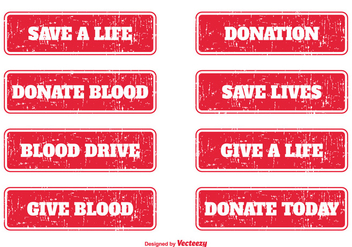 Blood Donation Grunge Stamps - бесплатный vector #363829
