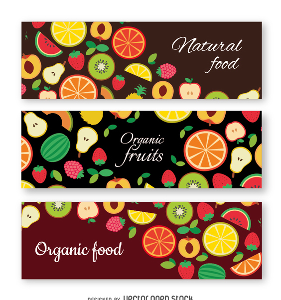 Organic fruit banner set - Free vector #363949