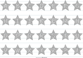Hand Drawn Star Alphabet - Kostenloses vector #363999