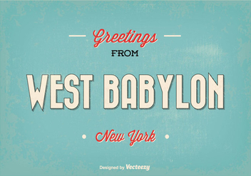 Retro West Babylon New York Greeting Illustration - бесплатный vector #364169