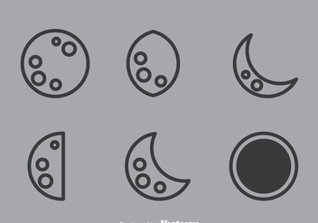 Lunar Outline Icons - vector gratuit #364189