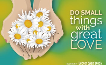 Open hands with flowers poster - бесплатный vector #364219