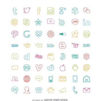 Social icons set in bright colors - Free vector #364229