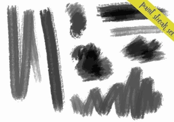 Charcoal Style Paint Streaks Vector Set - Free vector #364279