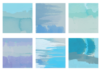 Blue Vector Watercolor Elements - vector gratuit #364289