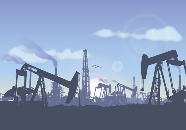 Oil Field Landscape Illustration Vector - vector gratuit #364339