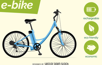 Electric bike vector with characteristics - Free vector #364479