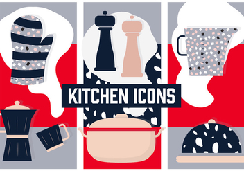 Free Flat Kitchen Vector Background with Various Elements - vector #364709 gratis