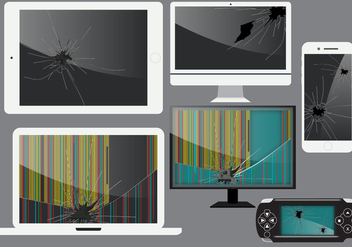 Broken Gadget Screen Vectors - vector gratuit #364729