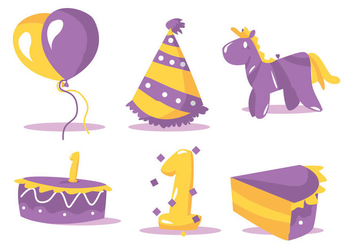 Birthday Vector Set - vector gratuit #364739