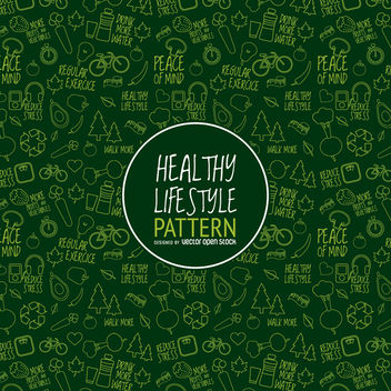 Green healthy lifestyle pattern - vector gratuit #365049