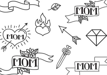 Free Mom Tattoos Vectors - Free vector #365139