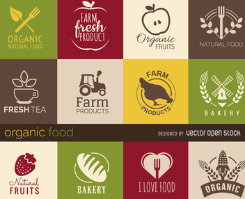 Healthy food signs and badges set - vector gratuit #365179