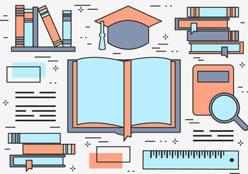 Free Flat Line Education Vector Background - бесплатный vector #365259