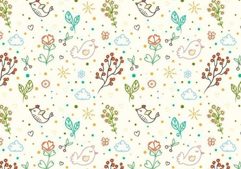 Free Vector Doodle Floral Bird Background - Free vector #365409