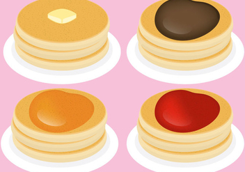 Pancakes With Toppings - vector gratuit #365419