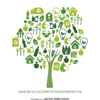 Recycle tree with ecology icons - vector gratuit #365449