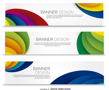 Colorful banner set with waves - vector gratuit #365479