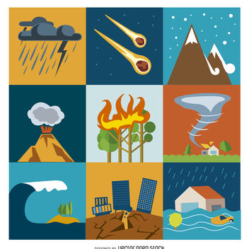 Disaster and crisis flat icon set - vector gratuit #365569