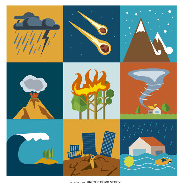 Disaster and crisis flat icon set - Free vector #365569