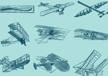 Old Style Airplanes - vector gratuit #365799