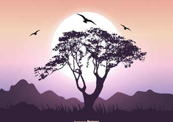 Landscape Scene with Baobab Tree - vector gratuit #365819