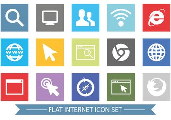 Flat Style Internet Related Icon Set - vector #365839 gratis