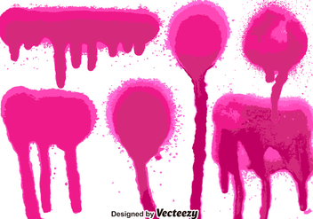 Set Of 6 Pink Spray Paint Splatters - Free vector #365909