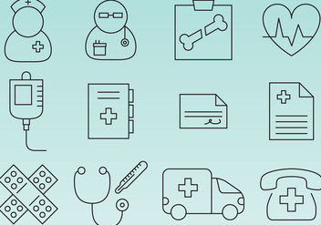 Hospital Line Icons - vector #365949 gratis