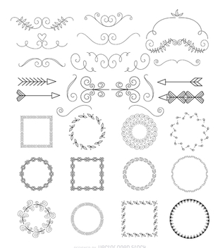 Arrows and frames collection - Free vector #365989