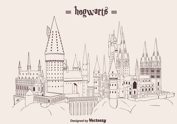Hand Drawn Hogwarts Vector - бесплатный vector #366439