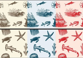 Nautica Toile Fabric Patterns - бесплатный vector #366799