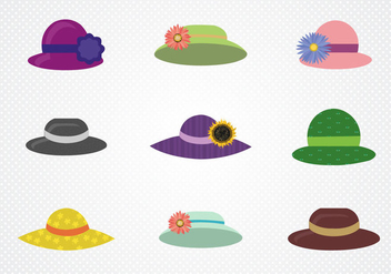 Free Colored Ladies Hat Vector - vector gratuit #367019